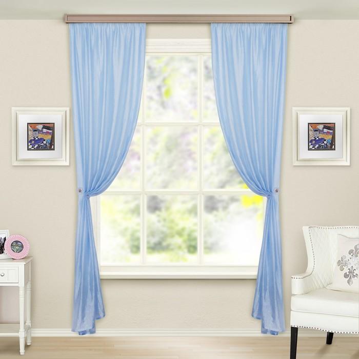 Комплект штор портьерных «Тергалет», 140х260 см — 2 шт, цвет голубой