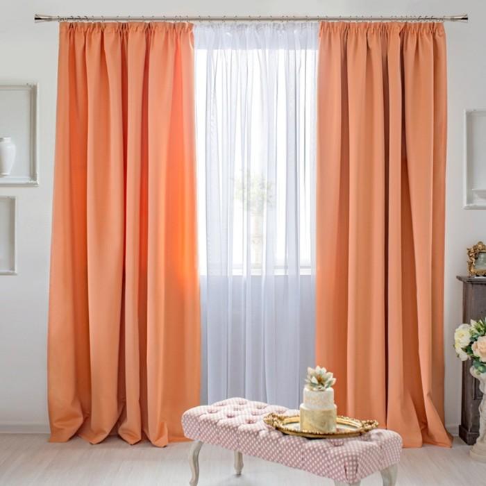 Шторы Duo, размер 170х250 см-2 шт., цвет персиковый, шторная лента
