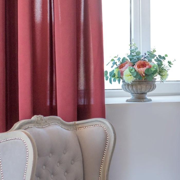 Шторы Duo, размер 170х250 см-2 шт., цвет бордовый, шторная лента