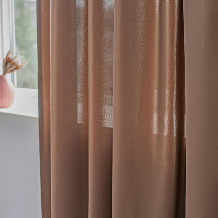 Шторы Duo, размер 170х250 см-2 шт., цвет коричневый, шторная лента