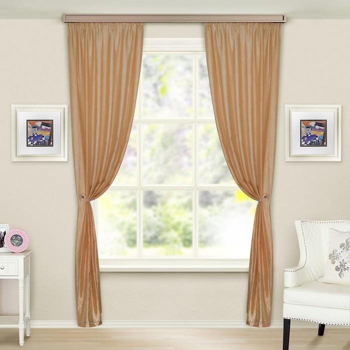 Комплект штор портьерных Тергалет 140х260 см - 2 шт, цв. светло-коричневый, пэ 100%