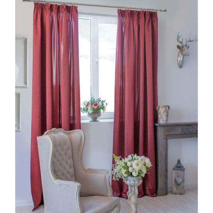 Шторы Duo, размер 170х270 см-2 шт., цвет бордовый, шторная лента