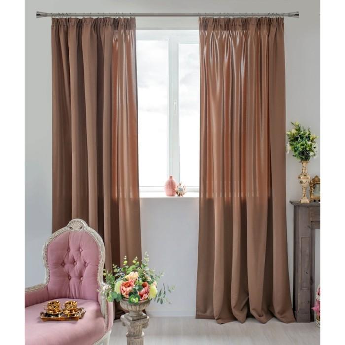 Шторы Duo, размер 170х270 см-2 шт., цвет коричневый, шторная лента