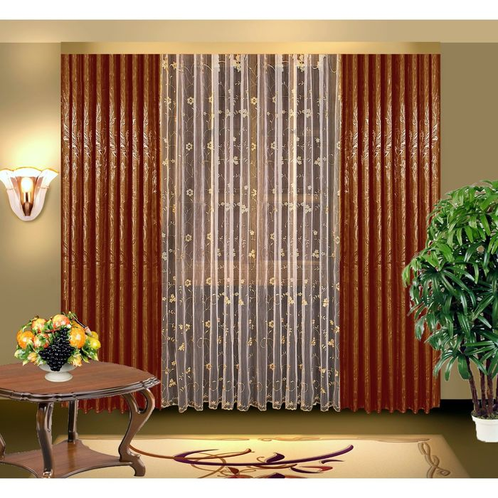Комплект штор, размер 150х250 2 шт, 350х250 см, цвет коричневый 7073