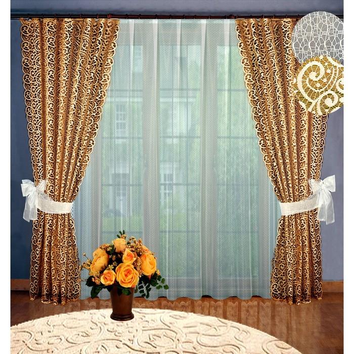 Комплект штор, размер 160х250 см-2 шт, 250х300 см-1 шт., цвет шоколадный 2057/3