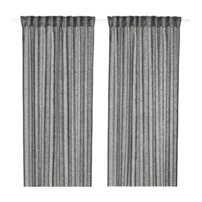 Гардины ЛЕЙОНГЭП, размер 145х300 см-2 шт., цвет тёмно-серый