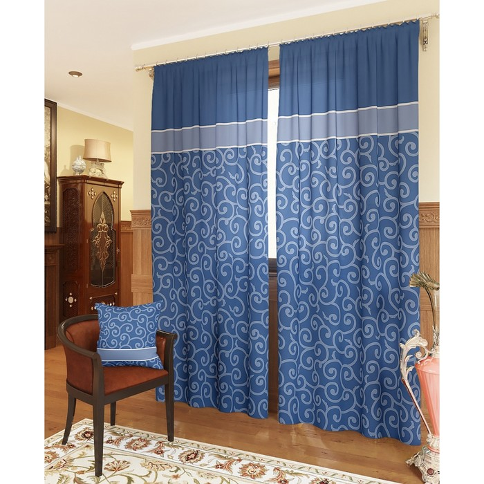 Комплект штор «Илвин-К», размер 150 × 260 см - 2 шт, синий