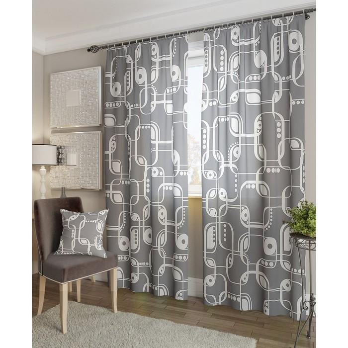 Комплект штор «Кларк-К», размер 150 × 260 см - 2 шт, серый