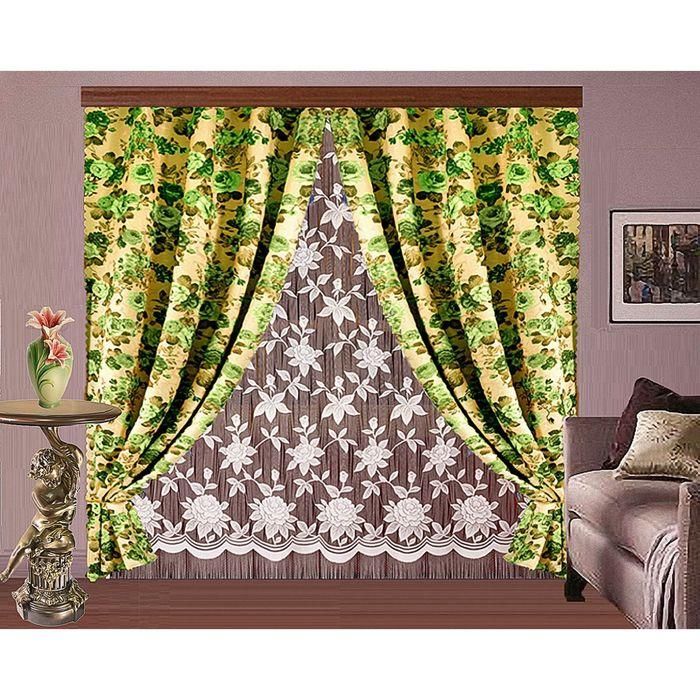 Комплект штор, размер 150х250 2 шт, 250х250 см, цвет зелёный 7037