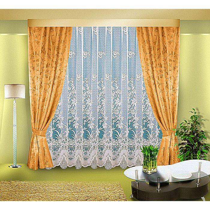 Комплект штор, размер 300х250, 140х250 см, цвет бронза 7100