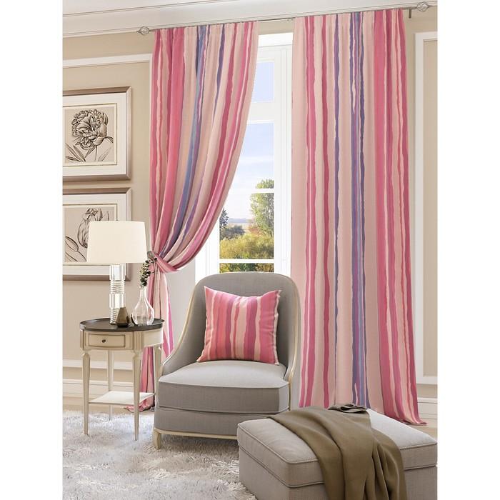 Комплект штор «Мината», размер 150 × 260 см - 2 шт, розовый