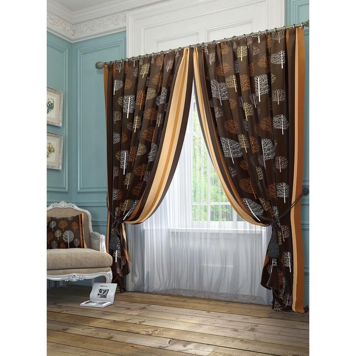 Комплект штор «Шарши», размер 145 × 260 см - 2 шт, коричневый