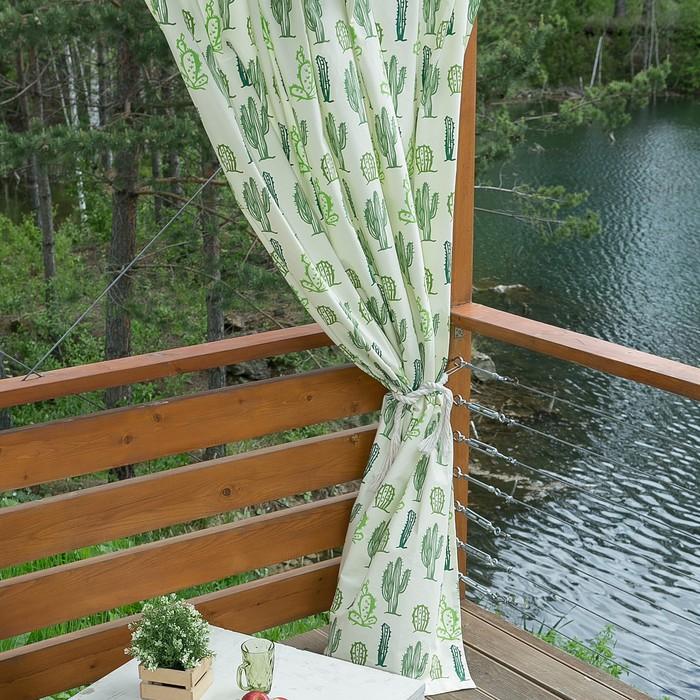 Портьера для террасы Этель «Кактусы», 200 × 210 см, репс с пропиткой ВМГО, 100%-ный хлопок