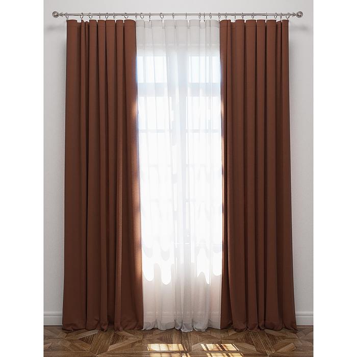 Комплект штор, 170х270 см, вуаль 300х270 см, коричневый