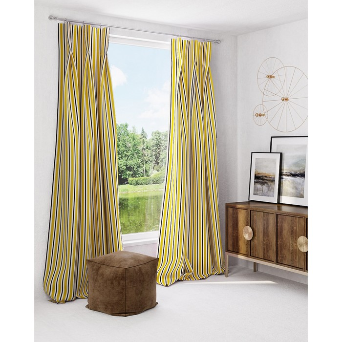 Комплект штор «Маркель», размер 150 × 260 см - 2 шт, жёлтый