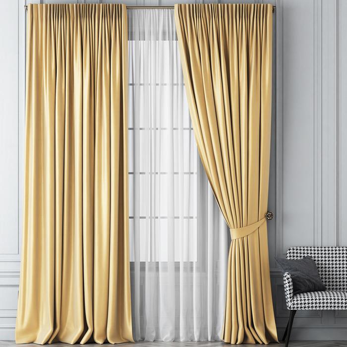 Комплект штор «Шанти», размер 170х270 см, золотой