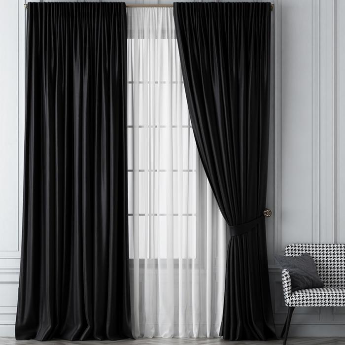 Комплект штор «Шанти», размер 170х270 см, чёрный
