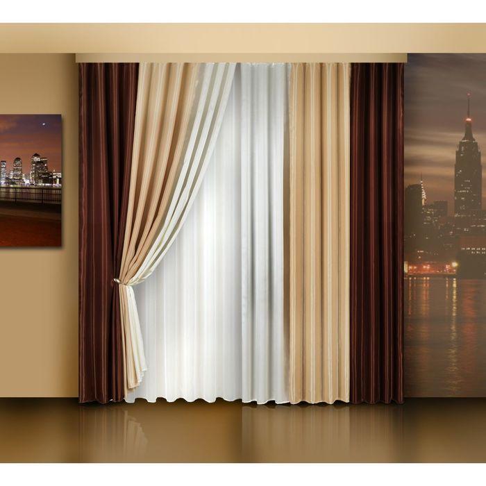 Комплект штор, размер 240х250-2 шт., тюль 250х500 см 7002