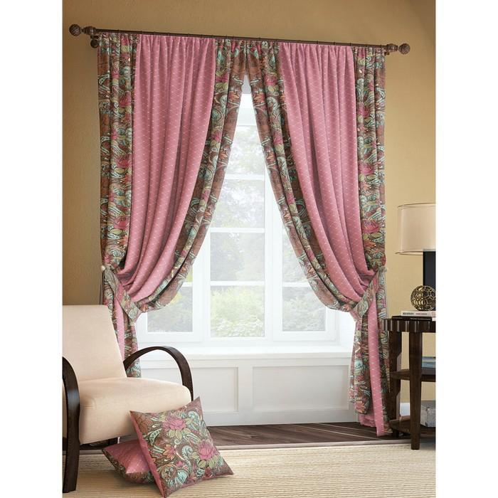 Комплект штор «Рогул», размер 150 × 280 см - 2 шт, розово-коричневый