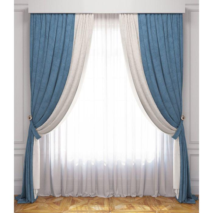 Комплект штор «Латур», бело-голубой, 100% полиэстер