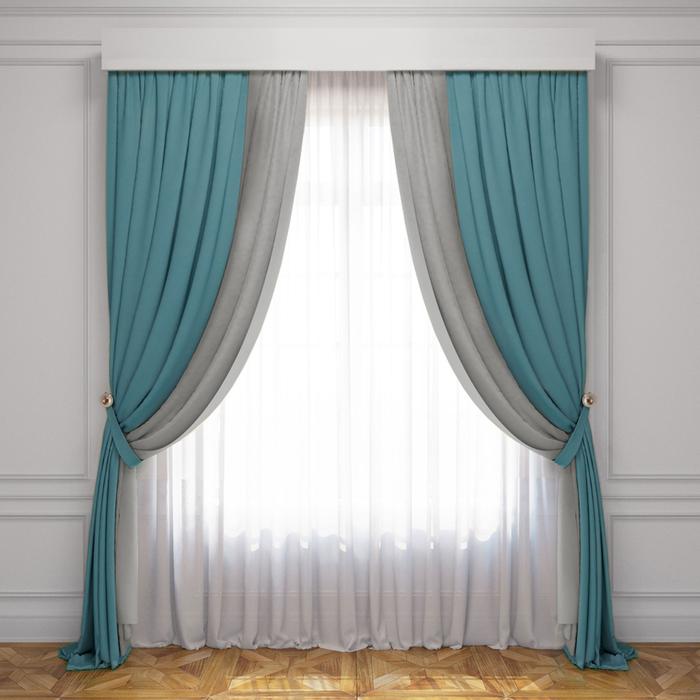 Комплект штор «Латур», размер 240х270 см, бирюзовый/серый