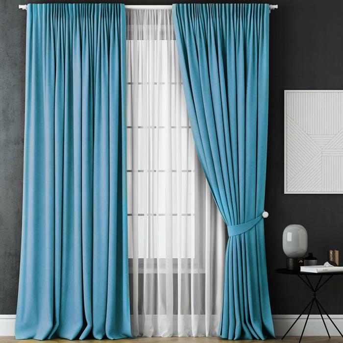 Комплект штор «Каспиан», размер 240х270 см, голубой