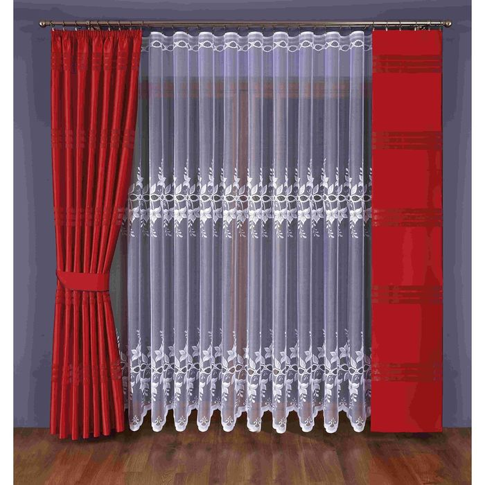 Комплект штор с подхватом 351W: тюль ш 400 х в 245 см, портьера ш 170 х в 245 см, гардина-панно ш 40 х в 245 см, красный, белый