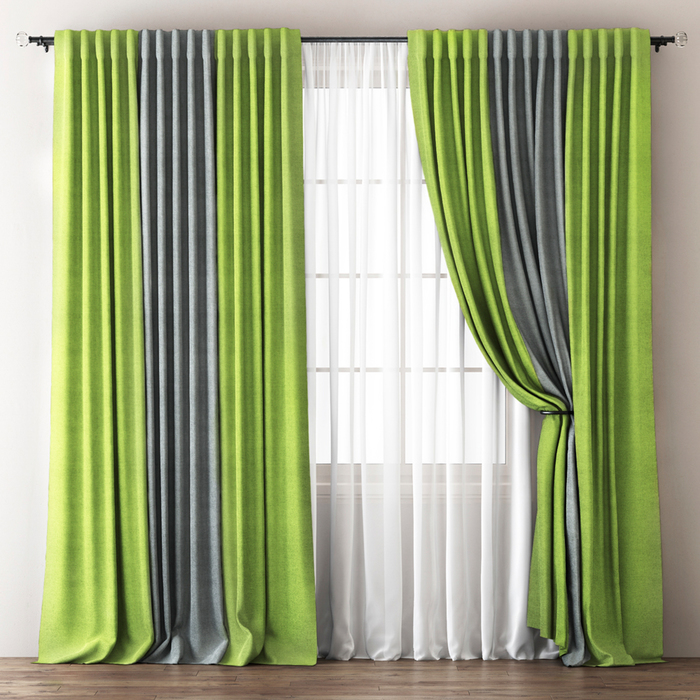 Комплект штор «Кирстен», размер 170х270 см, зелёный/серый