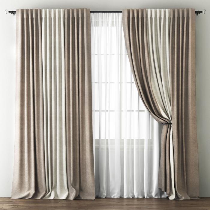Комплект штор «Кирстен», размер 170х270 см, бежево-коричневый/кремовый