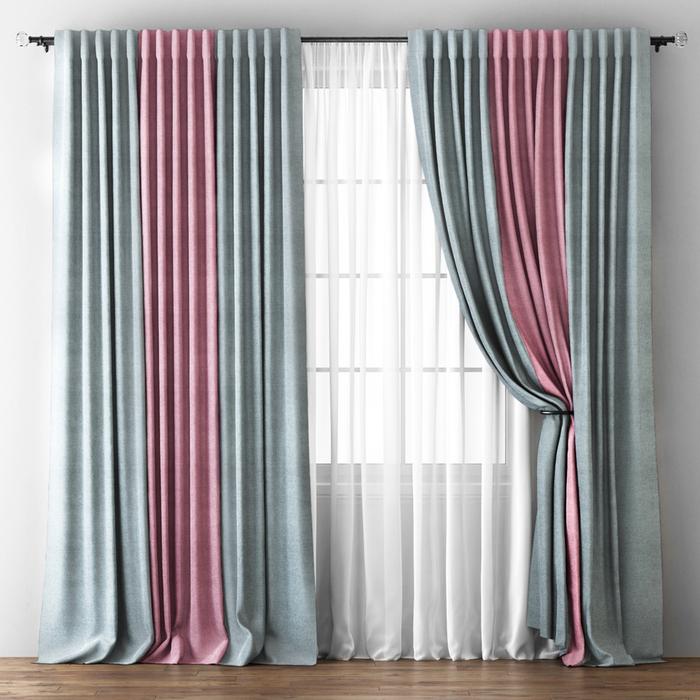 Комплект штор «Кирстен», размер 170х270 см, серый/розовый