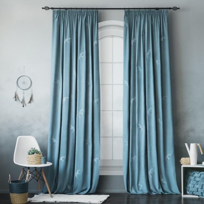 Комплект штор «Либерти», размер 145 × 270 см - 2 шт, голубой