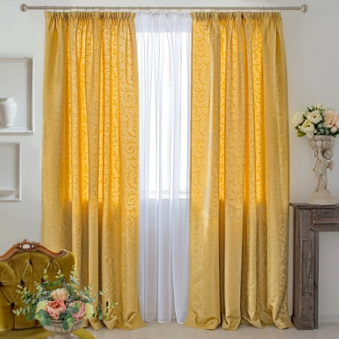 Шторы Fantezi, размер 180х250 см-2 шт., цвет жёлтый, шторная лента