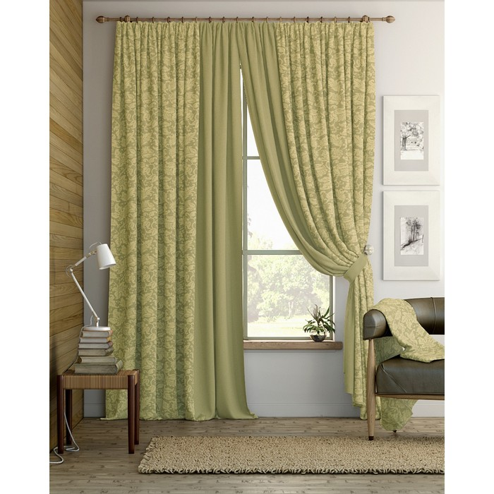 Комплект штор «Ронга», размер 220 × 280 см - 2 шт, оливковый