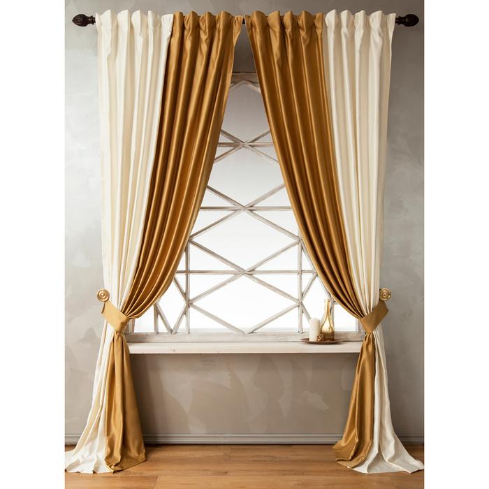 Комплект штор «Кидман», размер 200х270 см, золотой