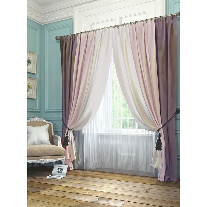 Комплект штор «Ярвис», размер 220 × 300 см - 2шт, розово-фиолетовый