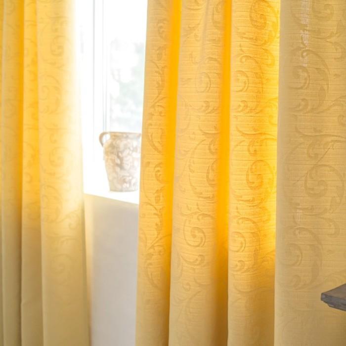 Шторы Fantezi, размер 180х270 см-2 шт., цвет жёлтый, шторная лента