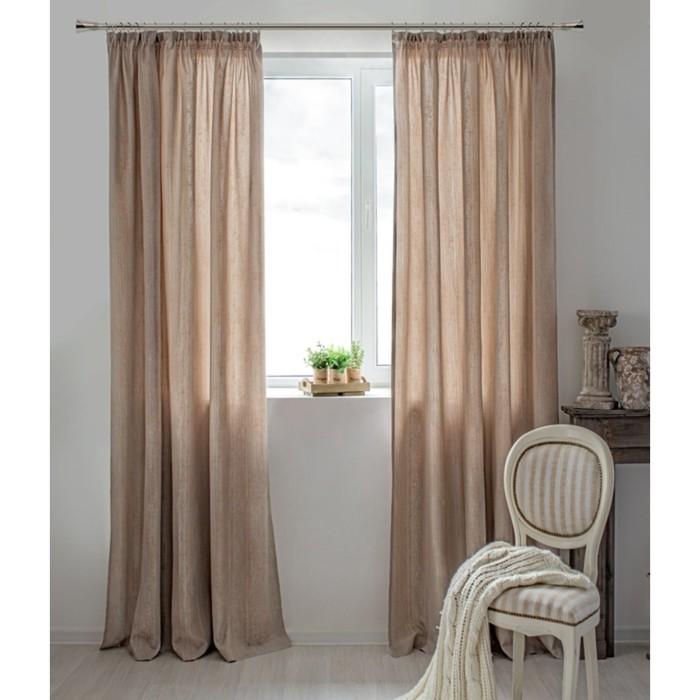 Шторы Dialog, размер 160х250 см-2 шт., цвет светло-коричневый, шторная лента