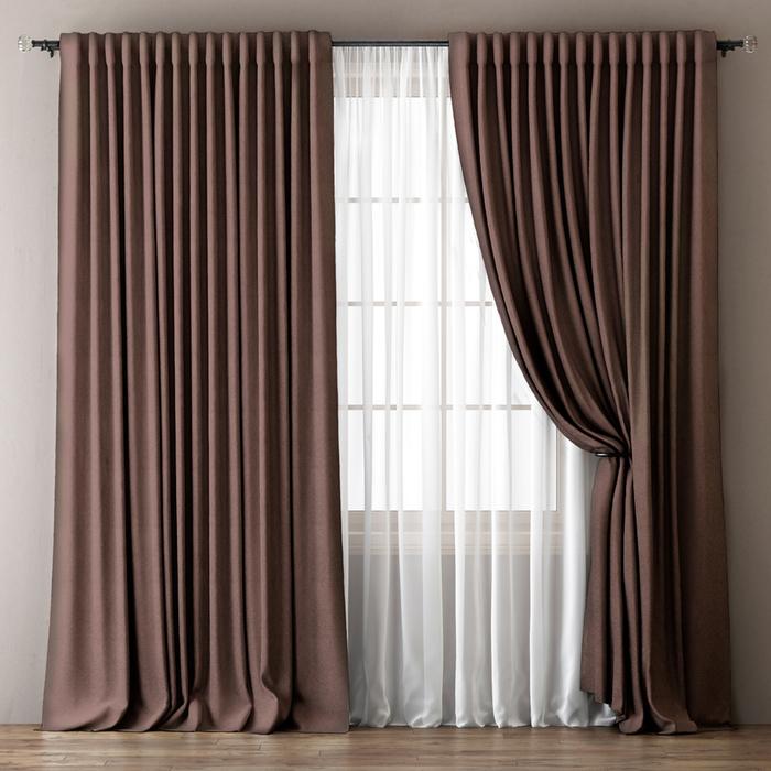 Комплект штор «Омма», размер 170х270 см, коричневый
