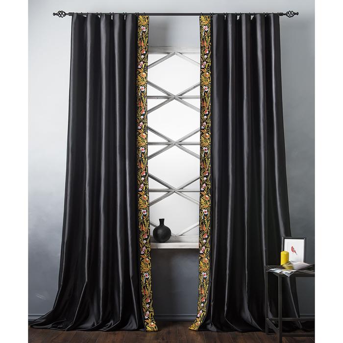 Комплект штор «Шарлиз», размер 200х280 см, чёрный