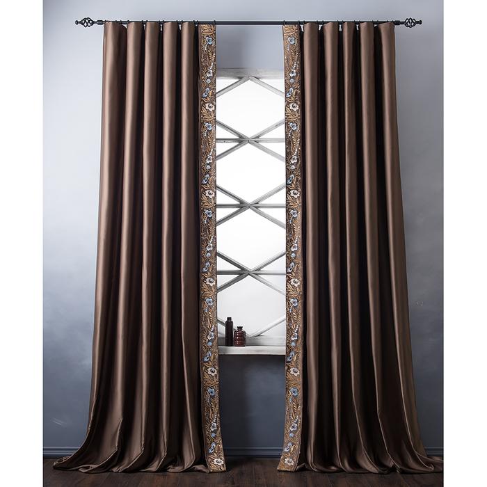 Комплект штор «Шарлиз», размер 200х280 см, коричневый