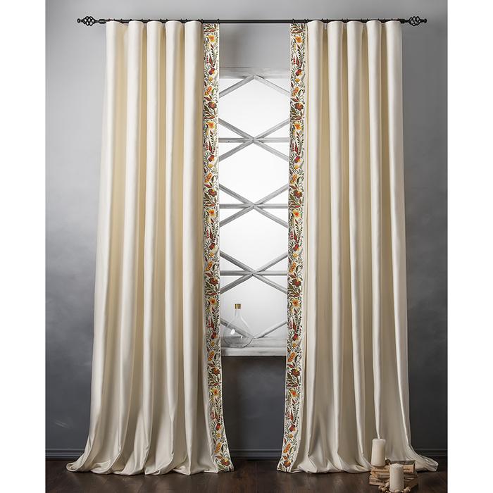 Комплект штор «Шарлиз», размер 200х280 см, сливочный