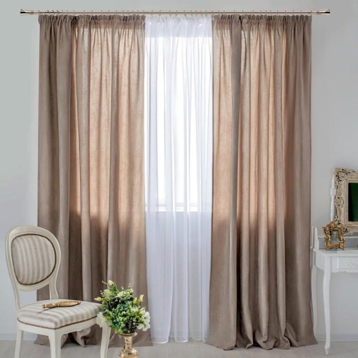 Шторы Vintage, размер 160х270 см-2 шт., цвет коричневый