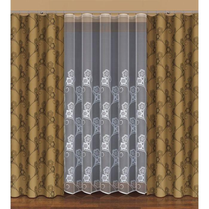 Комплект штор, размер 170х250 см, тюль 500х250 см, цвет оливковый