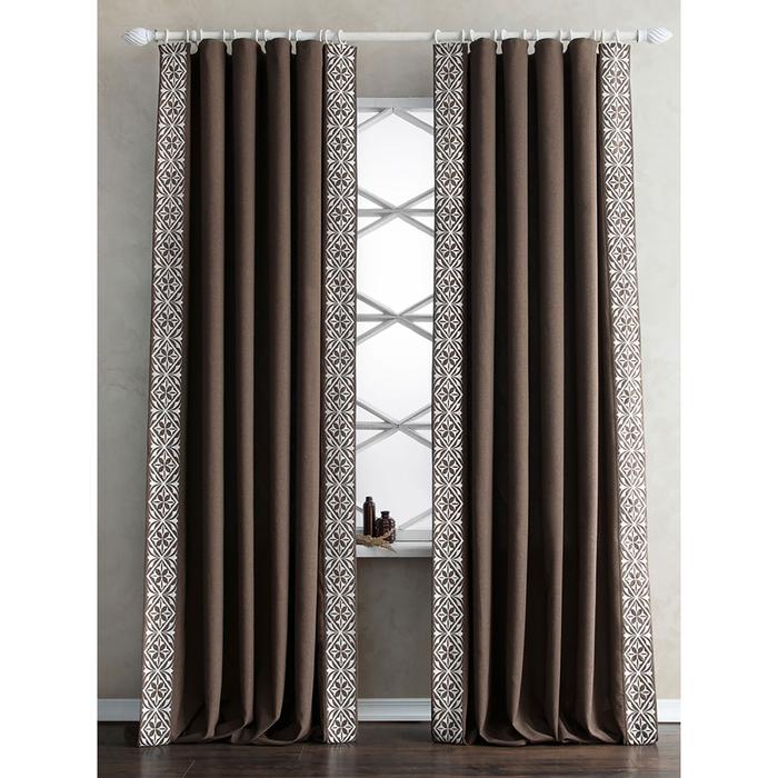 Комплект штор «Дюпон», размер 200х280 см, коричневый
