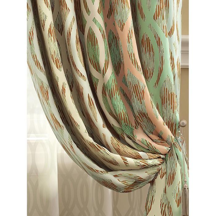 Комплект штор «Робиш», размер 150 × 280 см - 2 шт, персиково-зелёный