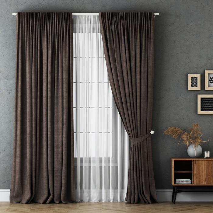 Комплект штор «Маркус», размер 240х270 см, коричневый