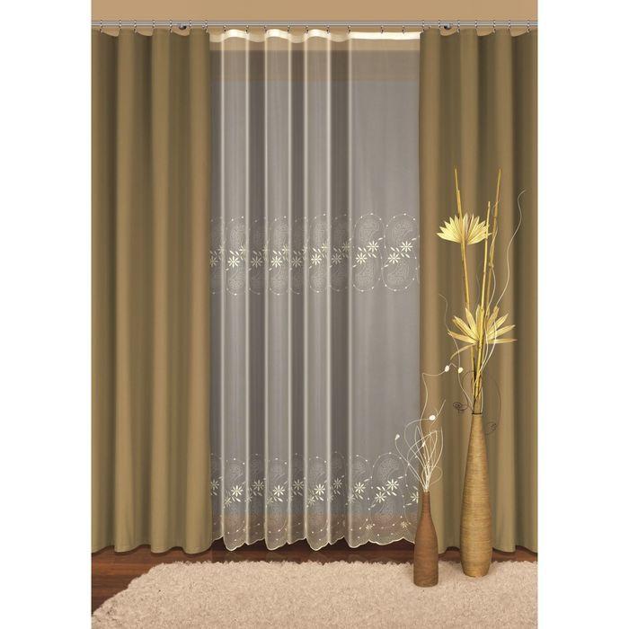 Комплект штор, размер 160х250 см, тюль 500х250 см, цвет оливковый