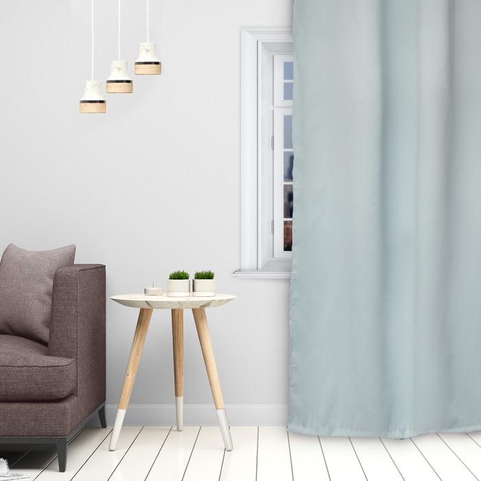 Штора портьерная «Этель» 130×300 см, двусторонний блэкаут, цвет Светло-голубой, пл. 240 г/м², 100% п/э