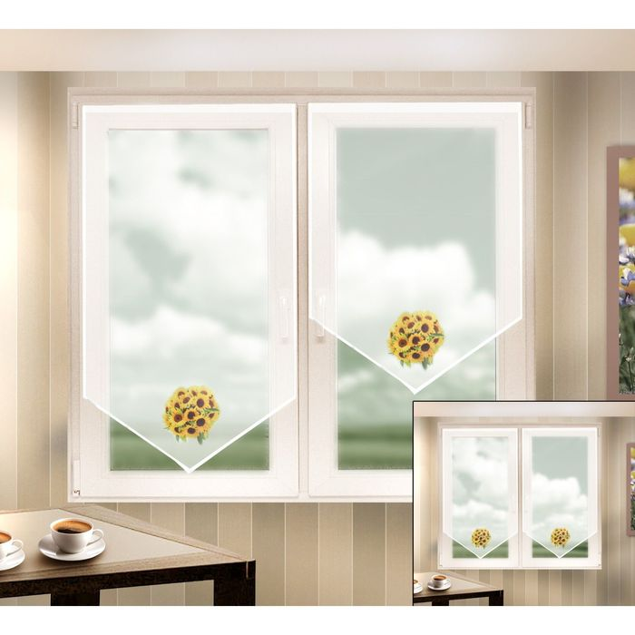Комплект штор, размер 60х140 см, 60х90 см, вуаль