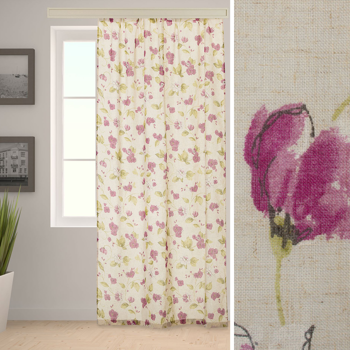 Штора портьерная «Этель» 260×260 см, Акварельные цветы, полулён, 15% лён, 85% п/э